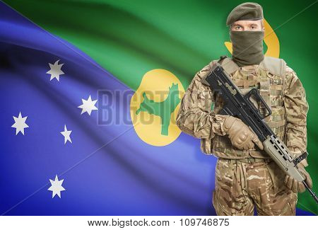 Soldier Holding Machine Gun With Flag On Background Series - Christmas Island