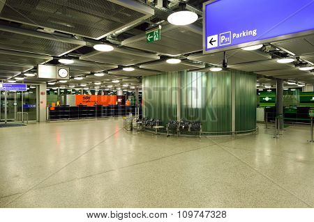 GENEVA, SWITZERLAND - NOVEMBER 19, 2015: interior of Geneva Airport. Geneva International Airport is the international airport of Geneva, Switzerland. It is located 4 km northwest of the city centre.