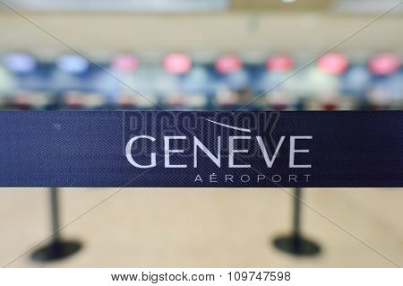 GENEVA, SWITZERLAND - NOVEMBER 19, 2015: close-up shot of belt in check-in area of Geneva Airport. Geneva International Airport is the international airport of Geneva, Switzerland.