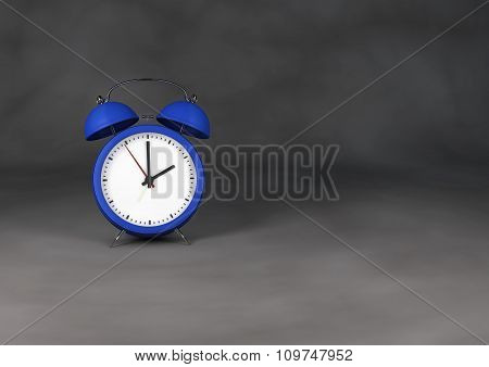 Blue Retro Style Alarm Clock On White Gray Background.