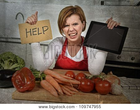 Inexperienced Home Cook Woman In Red Apron Screaming Desperate And Frustrated At Domestic Kitchen In