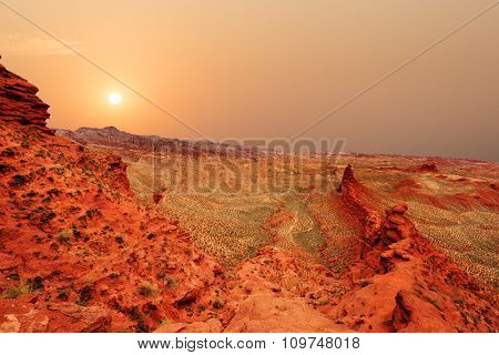 landscape of red sandstone in zhangye