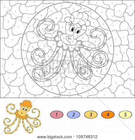 Color By Number Educational Game For Kids. Funny Cartoon Octopus. Vector Illustration