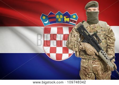 Soldier Holding Machine Gun With Flag On Background Series - Croatia