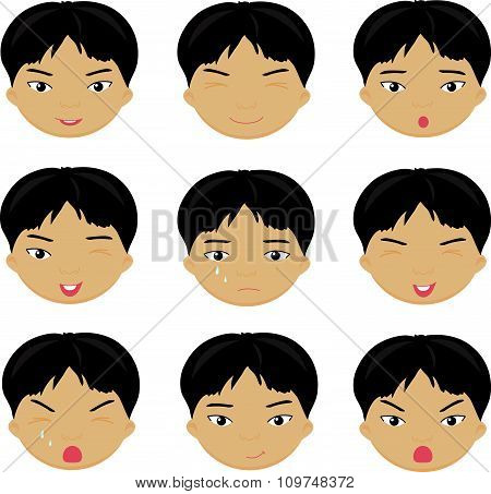 Chinese Boy Emotions: Joy, Surprise, Fear, Sadness, Sorrow, Crying, Laughing, Cunning Wink