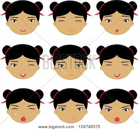 Chinese Girl Emotions: Joy, Surprise, Fear, Sadness, Sorrow, Crying, Laughing, Cunning Wink