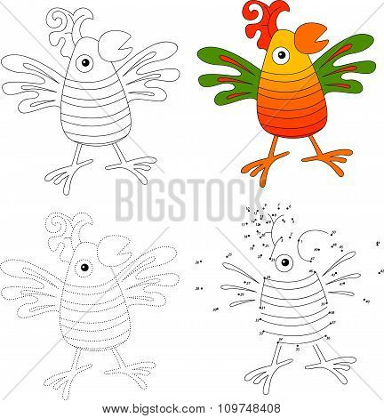 Cartoon Parrot. Vector Illustration. Dot To Dot Game For Kids
