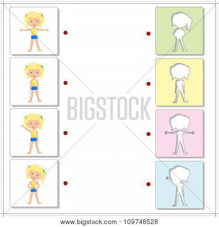 Girl Doing Morning Exercises. Educational Game For Kids