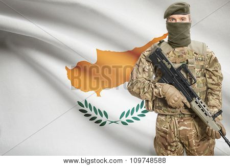 Soldier Holding Machine Gun With Flag On Background Series - Cyprus