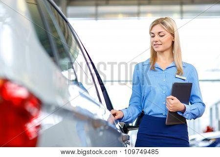 Sale assistant showing the car