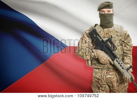 Soldier Holding Machine Gun With Flag On Background Series - Czech Republic