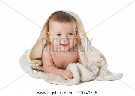Baby In Towel Is Isolated On A White Background.