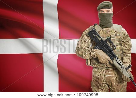 Soldier Holding Machine Gun With Flag On Background Series - Denmark