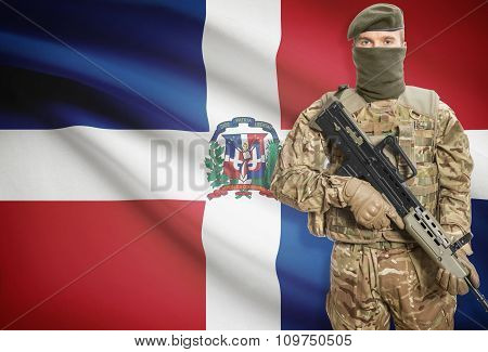 Soldier Holding Machine Gun With Flag On Background Series - Dominican Republic