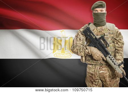 Soldier Holding Machine Gun With Flag On Background Series - Egypt
