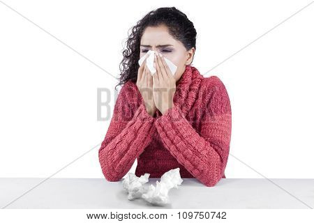 Pretty Indian Woman Has Flu And Fever