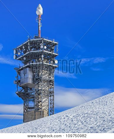 Telecommunication Tower On The Top Of Mt. Titlis