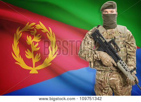 Soldier Holding Machine Gun With Flag On Background Series - Eritrea