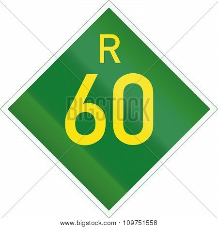 South Africa Provincial Route Shield - R60