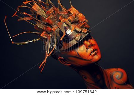 Painted mannequin Girl with metal headwear
