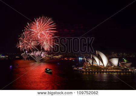 SYDNEY AUSTRALIA - November 28 2015: Firewoek at Sydney Opera House