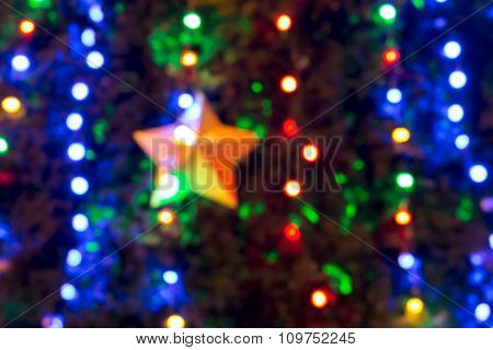 Christmas Tree Background With Defocused Colorful Lights