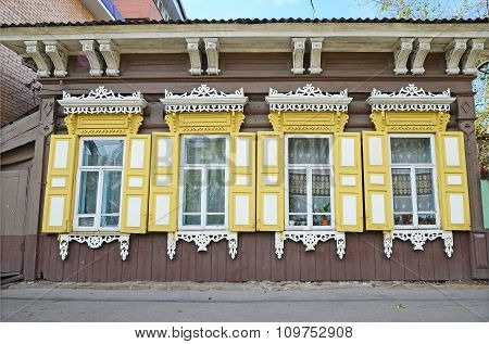 The Wooden House With Window Shutters On Irkutsk Street