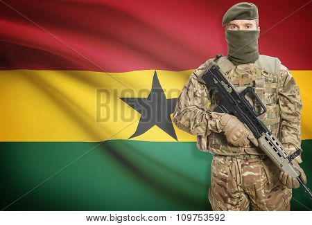 Soldier Holding Machine Gun With Flag On Background Series - Ghana