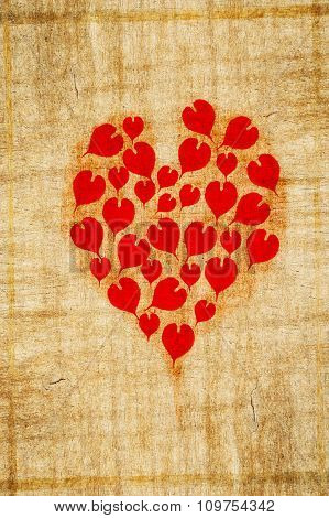 red heart on wooden wall