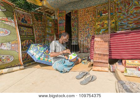Colourful Handicrafts Are Being Prepared For Sale In Pingla Village , India