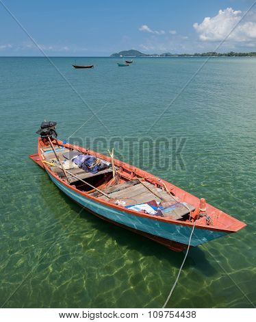 Colorfull Sea Fishing Boats In Ocean Asia