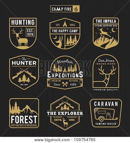 Set Of Camping Outdoor And Adventure Gears Logo