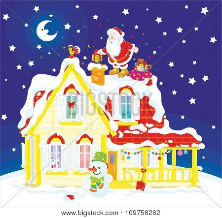 Santa with gifts on a housetop