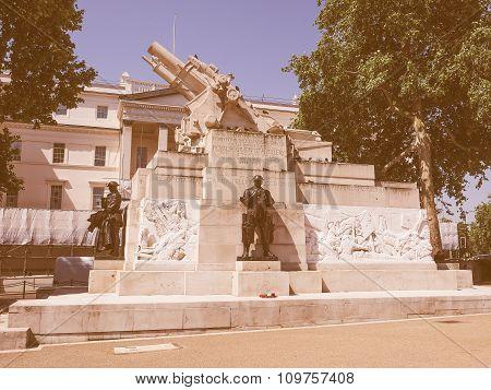 Retro Looking Royal Artillery Memorial In London