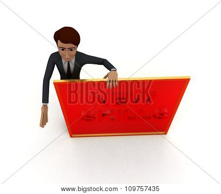 3D Man Presenting A Board - New Skills Text In It Concept