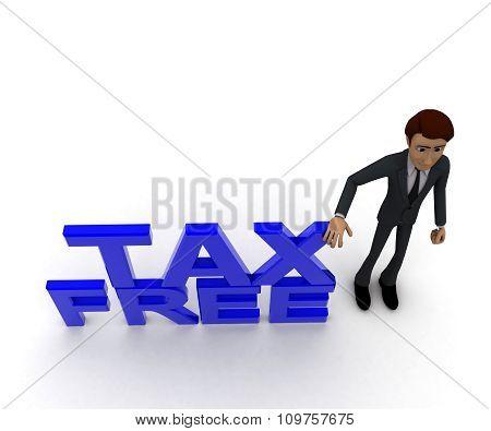3D Man Presenting Tax Free Text Concept