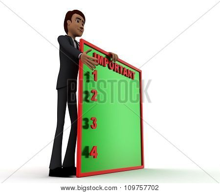3D Man Presenting A Board - Important Message In It Concept