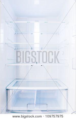 An Open Home Based Fridge With Empty Shelves Closeup