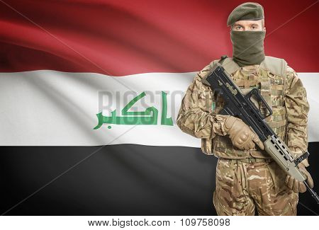 Soldier Holding Machine Gun With Flag On Background Series - Iraq