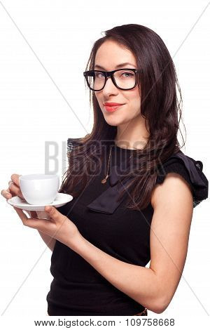 Woman secretary with coffee mug