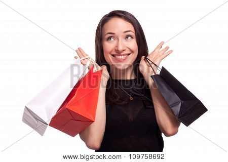 Shopping sale woman isolated on white