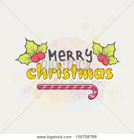 Merry Christmas celebration greeting card with Mistletoe and candy cane on Snowflakes decorated background.