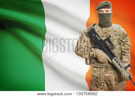 Soldier Holding Machine Gun With Flag On Background Series - Ireland