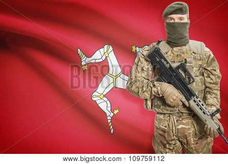 Soldier Holding Machine Gun With Flag On Background Series - Isle Of Man