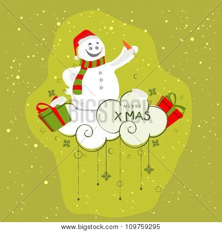 Cute smiling Snowman with carrot on snowflakes and gifts decorated clouds for Merry Christmas celebration.