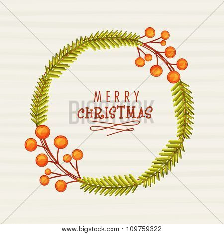 Fir tree branches and Mistletoe decorated greeting card design for Merry Christmas celebration.