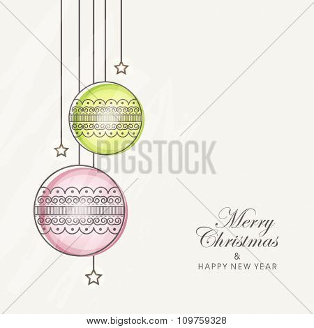 Floral Xmas Balls decorated greeting card design for Merry Christmas and Happy New Year celebration.