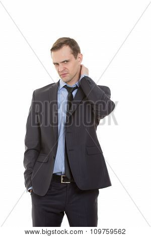 body language. man dressed business suit isolated on white background. rubbing his neck. aching, han