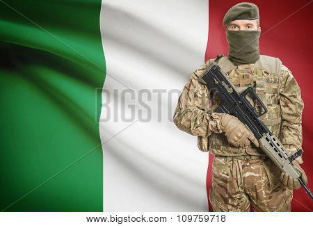 Soldier Holding Machine Gun With Flag On Background Series - Italy
