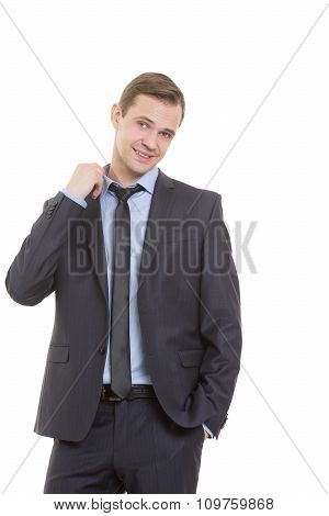 body language. man in business suit isolated on white background. gesture pulling the collar. fear o